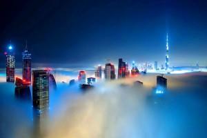 DUBAI : Fog over the buildings